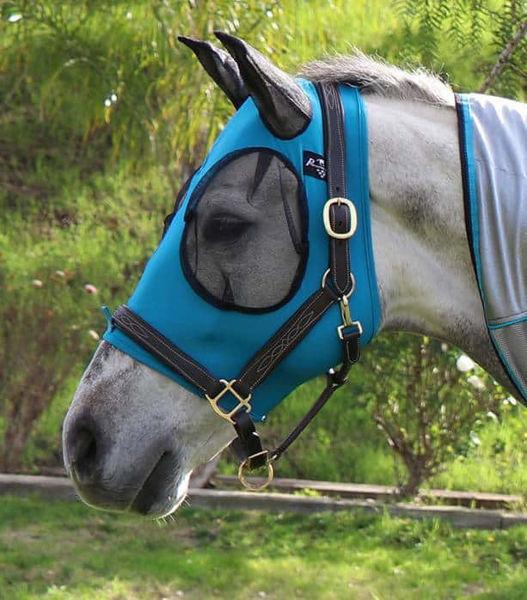 Blå fluemaske str. pony